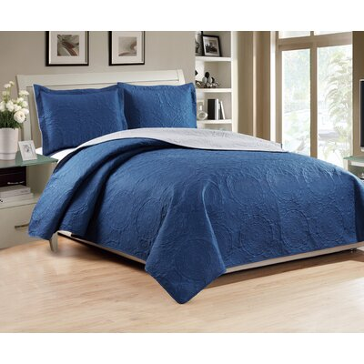 Altnahinch 3 Piece Reversible Quilt Set Size: King, Color: Navy/Gray