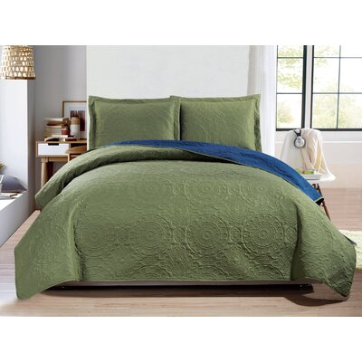 Altnahinch 3 Piece Reversible Quilt Set Size: Queen, Color: Sage/Navy