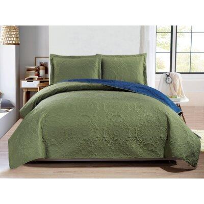 Altnahinch 3 Piece Reversible Quilt Set Size: King, Color: Sage/Navy