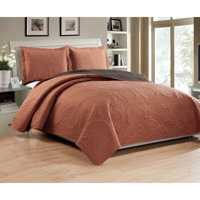 Altnahinch 3 Piece Reversible Quilt Set Size: King, Color: Spice/Chocolate