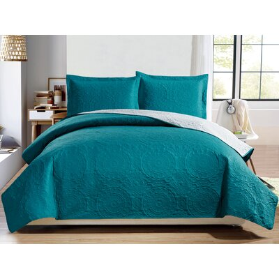 Altnahinch 3 Piece Reversible Quilt Set Size: Queen, Color: Turquoise/Gray