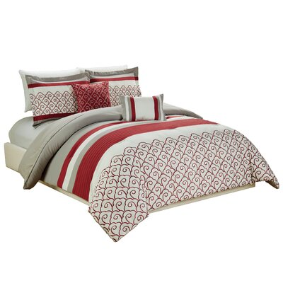 Makale Embroidered 5 Piece Comforter Set Size: King
