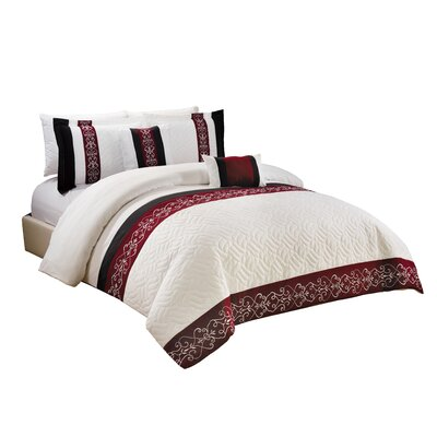 Laken 5 Piece Comforter Set Size: Queen, Color: White/Black/Burgundy