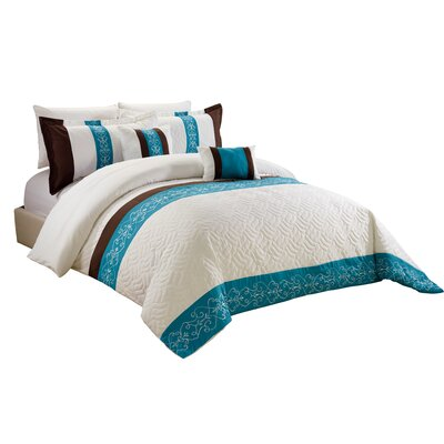 Laken 5 Piece Comforter Set Size: King, Color: Teal/Brown/White