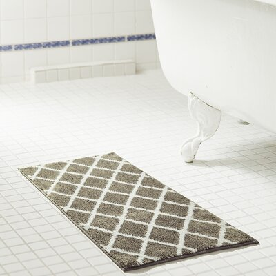 Jeanie Jacquard Microfiber Bath Rug Color: Gray, Size: 20 W x 32 L