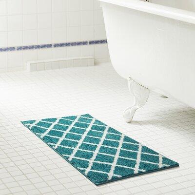 Jeanie Jacquard Microfiber Bath Rug Size: 20 W x 32 L, Color: Teal