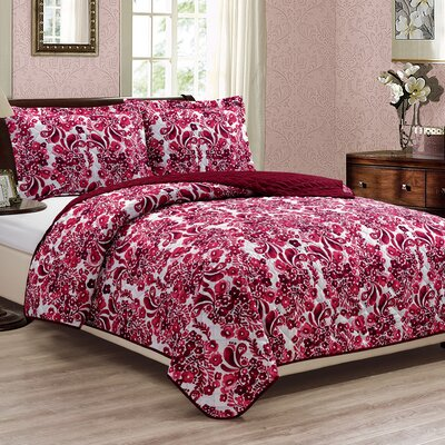 Nourse 3 Piece Reversible Quilt Set Size: Queen