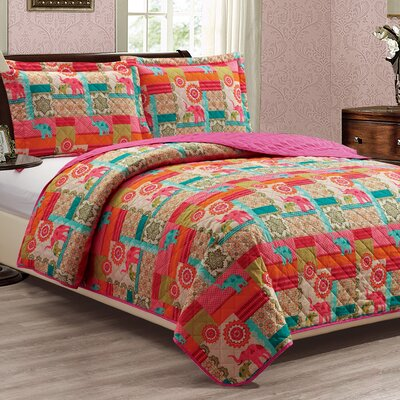 Ayla 3 Piece Reversible Quilt Set Size: Queen