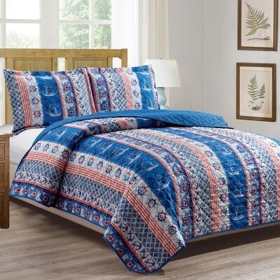 Valleywood 3 Piece Reversible Quilt Set Size: Queen