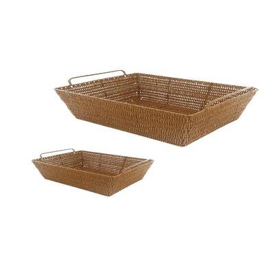 MImo Style Homegoods 2 Piece Javanese Style Plastic Wicker Basket Set
