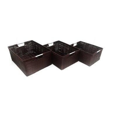 MImo Style Homegoods 3 Piece Javanese Style Plastic Wicker Basket Set