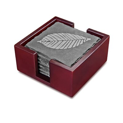 Slate Etched Leaf Coaster with Solid Wood Holder 28492