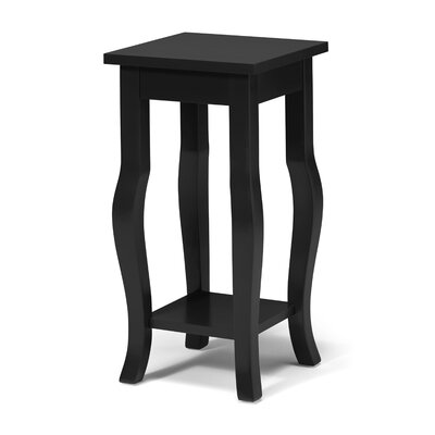 Lillian Wood Pedestal End Table Color: Black