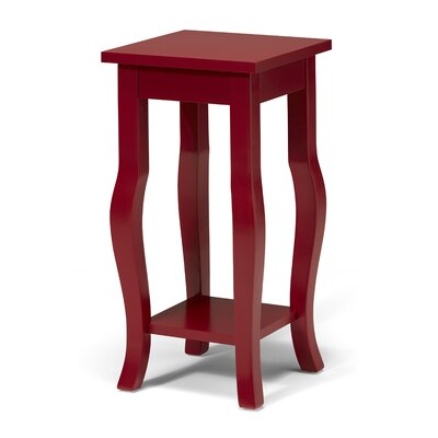 Lillian Wood Pedestal End Table Color: Red