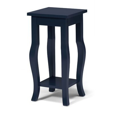 Lillian Wood Pedestal End Table Color: Navy Blue