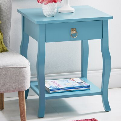 Danby End Table With Storage Color: Satin Teal