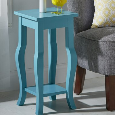 Lillian Wood Pedestal End Table Color: Teal