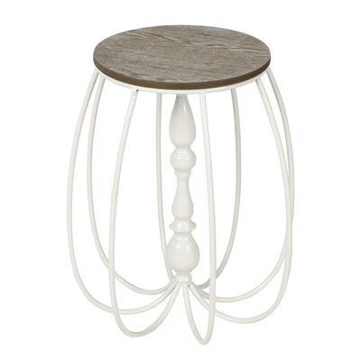 Tenterden Metal/Wood End Table Finish: White