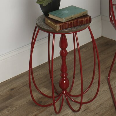 Tenterden Metal/Wood End Table Color: Red