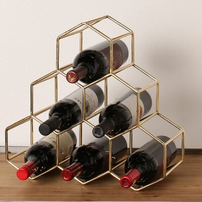 Kitts 6 Bottle Tabletop Wine Bottle Rack Finish: Gold