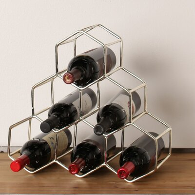 Kitts 6 Bottle Tabletop Wine Bottle Rack Finish: Silver