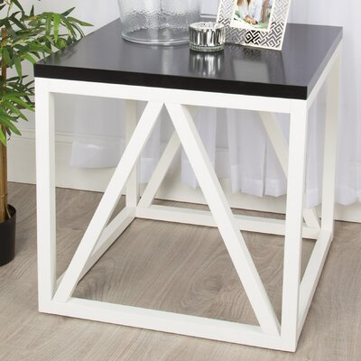 Dunstan Wood Cube End Table Color: Black/White