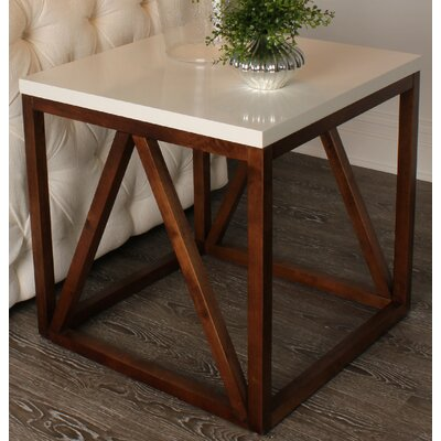Kaya Wood Cube End Table Finish: White/Walnut Brown