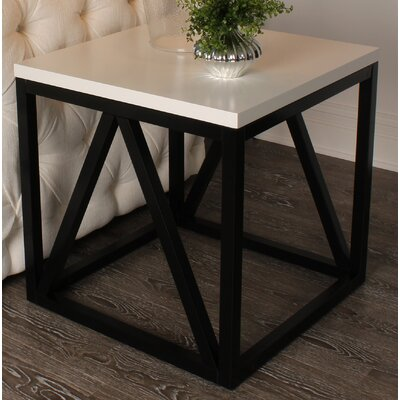 Dunstan Wood Cube End Table Color: White/Black