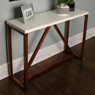 Kaya Wood Console Table Color: White/Walnut Brown