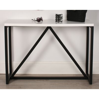 Kaya Wood Console Table Color: White/Black