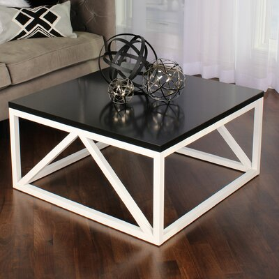 Kaya Two Toned Wood Square Coffee Table Base Finish: White, Top Finish: Black
