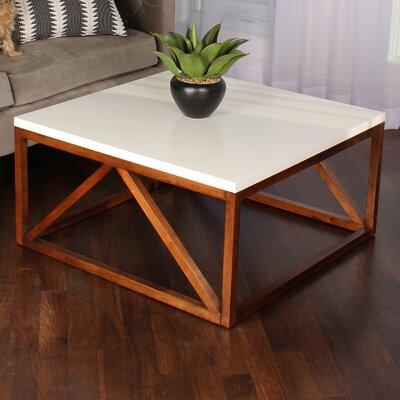 Kaya Two Toned Wood Square Coffee Table Base Finish: Walnut Brown, Top Finish: White