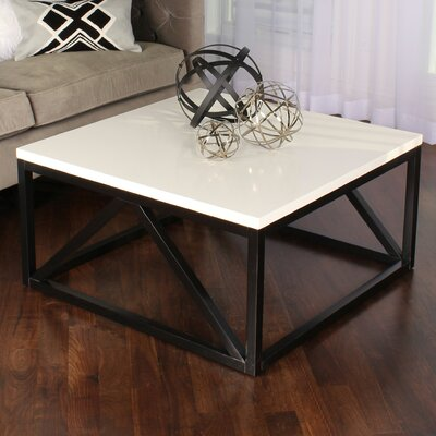 Dunstan Two Toned Wood Square Coffee Table Base Color: Black, Top Color: White