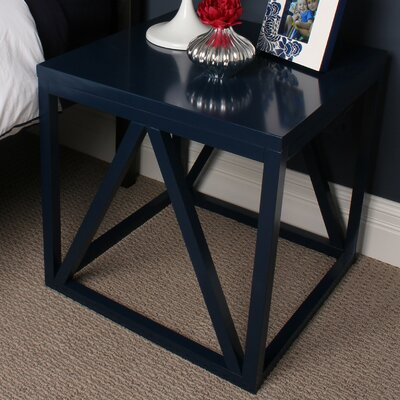 Kaya Wood Cube End Table Finish: Navy Blue