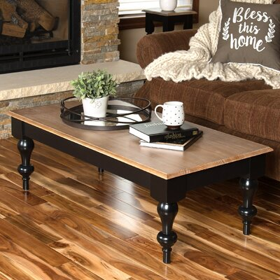 Sophia Wood Top Coffee Table Base Color: Black