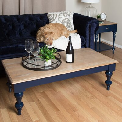 Sophia Wood Top Coffee Table Color: Navy Blue