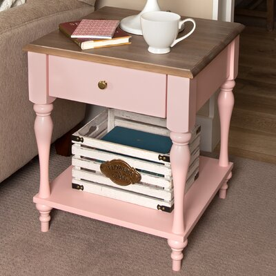 Sophia Wood Top 1 Drawer Nightstand Color: Pink