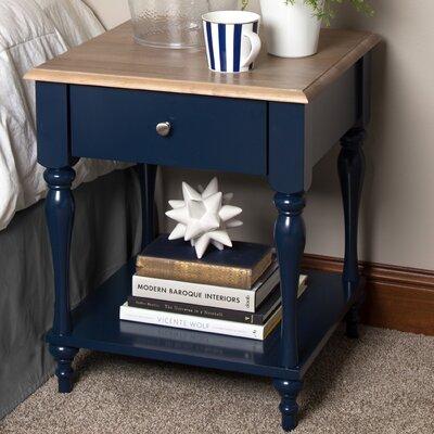 Sophia Wood Top 1 Drawer Nightstand Color: Navy Blue