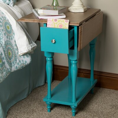 Sophia Wood Top Drop Leaf End Table Finish: Teal