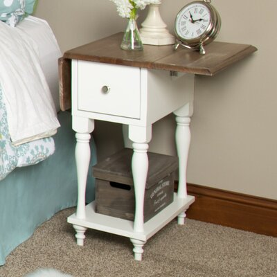 Sophia Wood Top Drop Leaf End Table Color: White