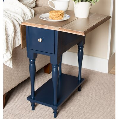 Sophia Wood Top Drop Leaf End Table Finish: Navy Blue