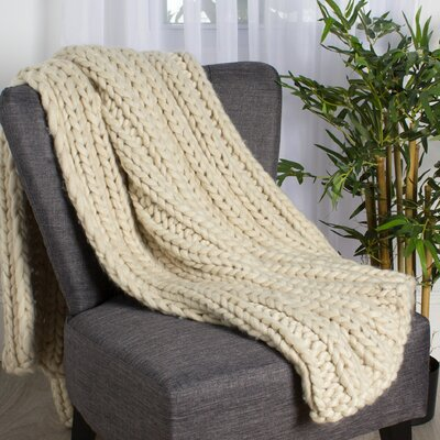 Chunky Knit Throw Color: Natural White