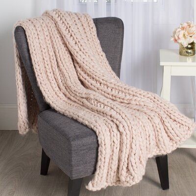 Chunky Knit Throw Color: Soft Pink