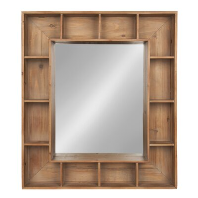 Gretel Rustic Wood Cubby Framed Wall Storage Accent Mirror