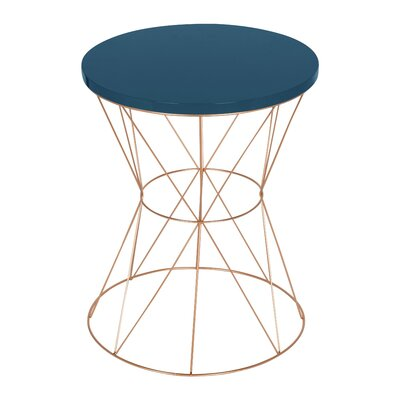 Galien Round Metal End Table Table Top Color: Blue