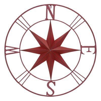 Antique Metal Compass Rose Wall Décor Size: 32 H x 32 W x 2 D