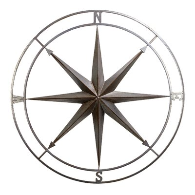 Metal Nautical Compass Wall Décor Size: 32 H x 32 W x 2.5 D