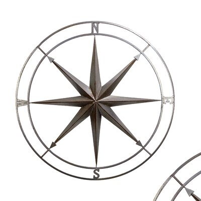 Metal Nautical Compass Wall Décor Size: 26 H x 26 W x 2 D
