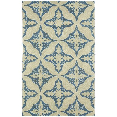 Williamsburg Medium Blue Floral and Plants Area Rug Rug Size: 5 x 8