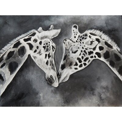 Kissing Giraffe Painting Print on Wrapped Canvas Size: 24